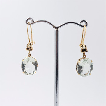 9ct Yellow Gold Topaz & Seed Pearl Earrings #53450