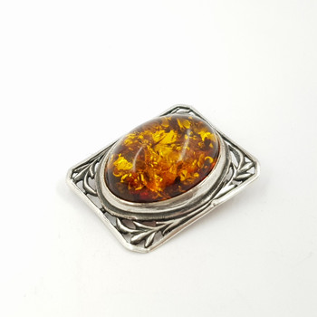 Sterling Silver Vintage Style Amber Brooch #52397