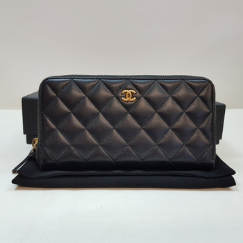 Chanel Long Black Zippered Wallet + Auth Card & Box #55232