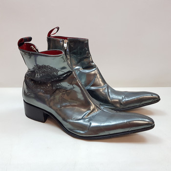 These fun boots by Jeffery West have Frankenstein's Monster and his bride on the sides. The boots are finished in a metallic silver.