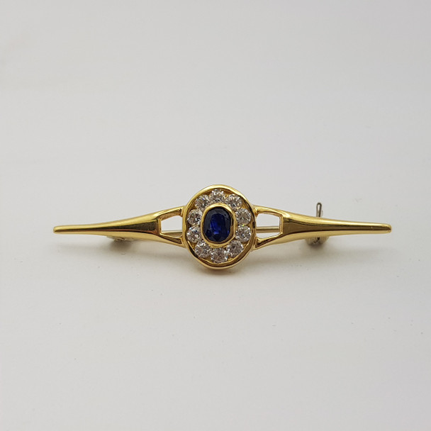 18ct/18k Yellow Gold Natural Sapphire and Synthetic Glass Broach/Pin #14453