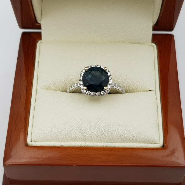 18ct/18k White Gold Sapphire Diamond Ring Size M VALUED $5955 TDW 0.53ct #190126 NEW