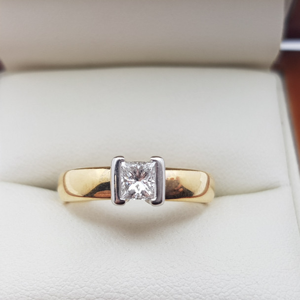 18CT YELLOW GOLD DIAMOND 0.4CT H/SI RING + VALUATION $3385 #19890