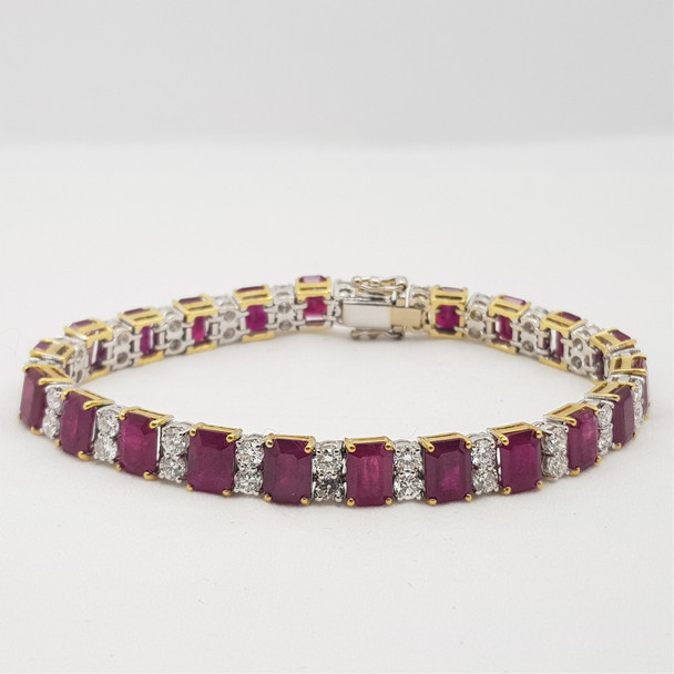 18CT 30.6GR TWO TONE GOLD BURMESE RUBY & 4.5CT DIAMOND BRACELET VAL $62765 #46956
