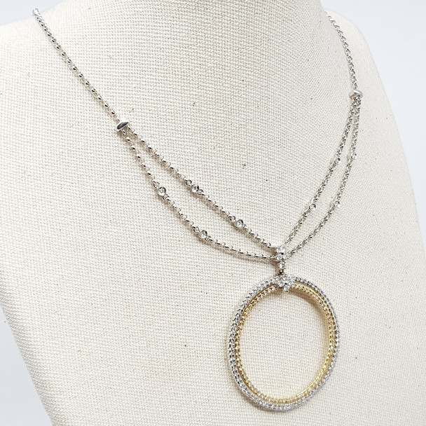 18CT 9.5GR YELLOW/WHITE GOLD .97CT DIAMOND PENDANT & NECKLACE CHAIN VAL $4650 #32197