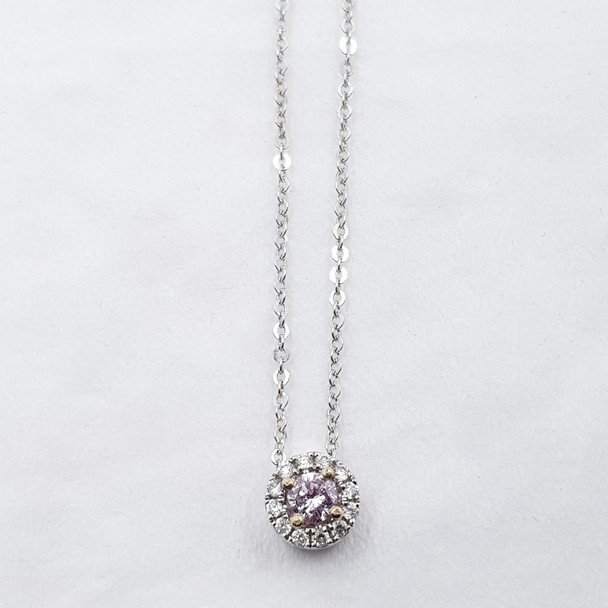 18CT 2.59GR WHITE GOLD 6PP PINK DIAMOND PENDANT & CHAIN VAL $15995 #24235