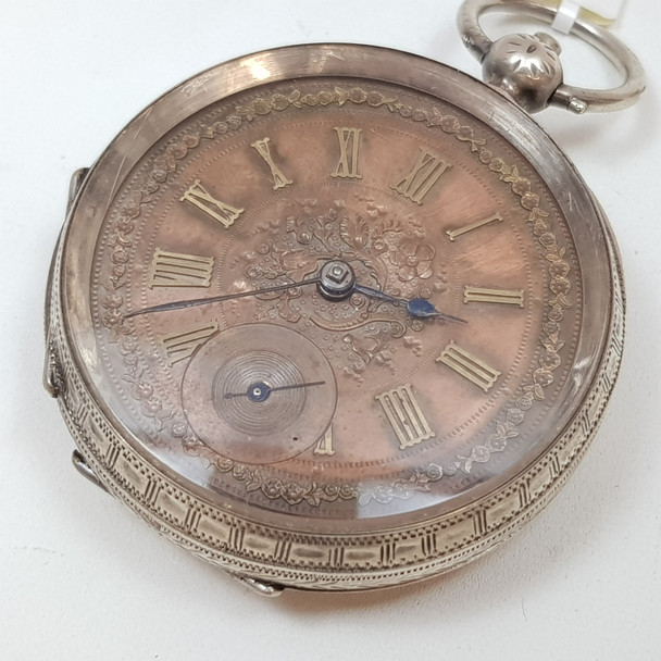 ANTIQUE SILVER FOB POCKET WATCH C/1890 - SERVICED #46761