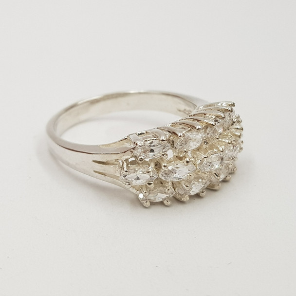 *New* Sterling Silver 925 CZ Dress Ring Size N #54804