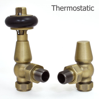 019 Traditional TRV Angled Old English Brass Thermostatic Radiator Valves