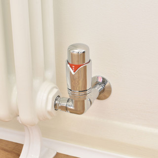 003 Modern TRV Corner Chrome Thermostatic Radiator Valves with Sleeves