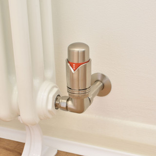 003 Modern TRV Corner Satin (Brushed) Nickel Thermostatic Radiator Valves with Sleeves