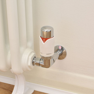 003 Modern TRV Corner White Thermostatic Radiator Valves with Sleeves