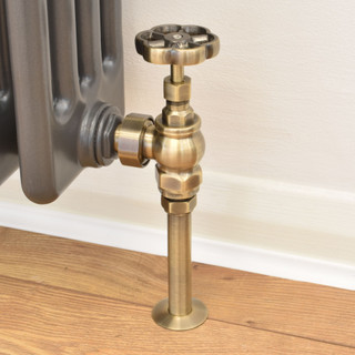 T-MAN-038-AG-AB-PIP - 038 Traditional Manual Angled Antique Brass Radiator Valves with Sleeves