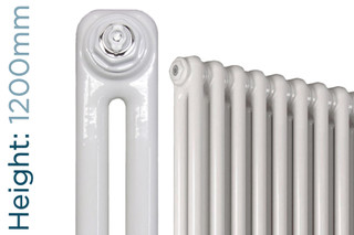 NF2-W-1200-TH - Infinity White 2 Column Radiator 3 Sections H1200mm X W162mm
