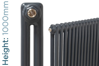 NF2-A-1000-TH - Infinity Anthracite 2 Column Radiator 3 Sections H1000mm X W162mm