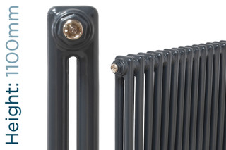 NF2-A-1100-TH - Infinity Anthracite 2 Column Radiator 3 Sections H1100mm X W162mm