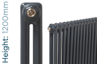 NF2-A-1200-TH - Infinity Anthracite 2 Column Radiator 3 Sections H1200mm X W162mm