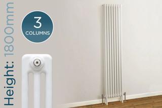 TE3-1800-W-TH - Trade Essentials White 3 Column Vertical Radiator H1800 x W300