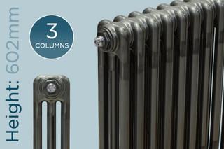TE3-600-R-TH - Trade Essentials Raw 3 Column Horizontal Radiator 602mm x 159mm