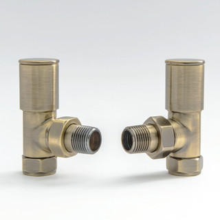 006 Modern Manual Angled Antique Brass Radiator Valves