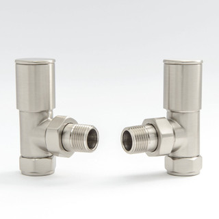 006 Modern Manual Angled Satin (Brushed) Nickel Radiator Valves