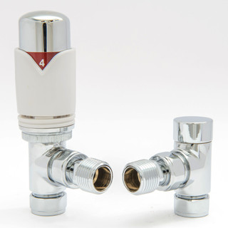 001 Modern TRV Angled White Thermostatic Radiator Valves
