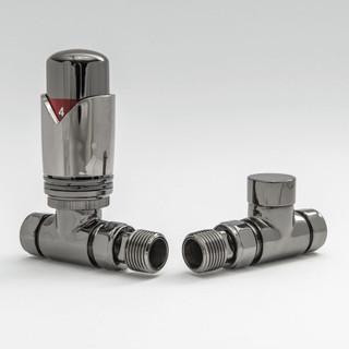 002 Modern TRV Straight Black Nickel Thermostatic Radiator Valves