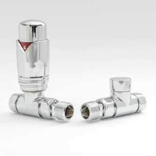 002 Modern TRV Straight Chrome Thermostatic Radiator Valves