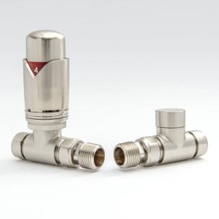 002 Modern TRV Straight Satin (Brushed) Nickel Thermostatic Radiator Valves