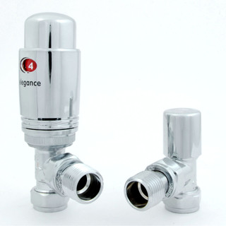 039 Modern TRV Angled Chrome Thermostatic Radiator Valves