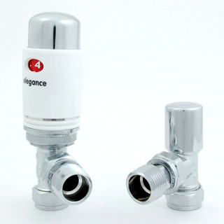 039 Modern TRV Angled White Thermostatic Radiator Valves