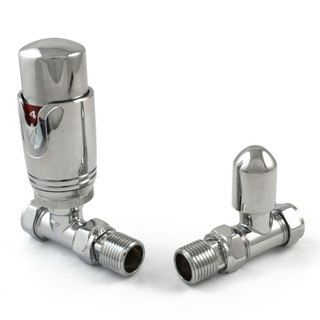 042 Modern TRV Straight Chrome Thermostatic Radiator Valves
