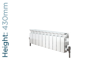 Apollo Modena Flat Aluminium Designer White Double Horizontal Radiator H430mm X W320mm