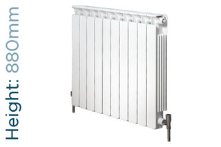 Apollo Modena Flat Aluminium Designer White Double Horizontal Radiator H880mm X W320mm