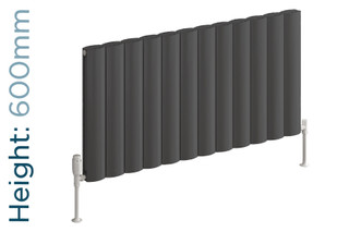 Reina Belva Aluminium Designer Anthracite Single Horizontal Radiator H600mm X W412mm