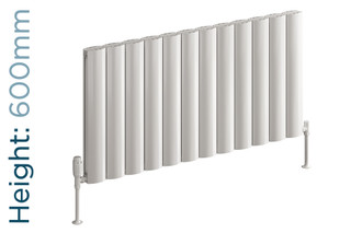 Reina Belva Aluminium Designer White Single Horizontal Radiator H600mm X W412mm