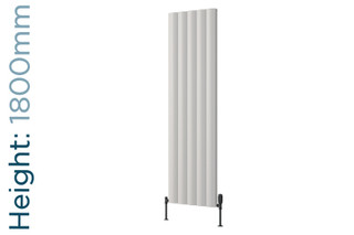 Reina Belva Aluminium Designer White Single Vertical Radiator H1800mm X W308mm