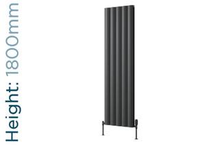 Reina Belva Aluminium Designer Anthracite Single Vertical Radiator H1800mm X W308mm