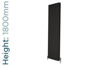 Apollo Magenta Curve Aluminium Designer Black Metallic Double Vertical Radiator H1800mm X W315mm