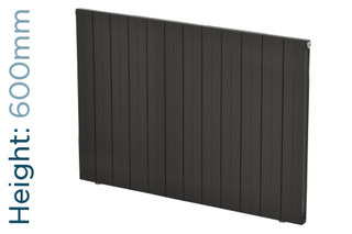 Apollo Malpensa Flat Aluminium Designer Anthracite Single Horizontal Radiator H600mm X W480mm