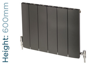 Apollo Malpensa Curved Aluminium Designer Anthracite Single Horizontal Radiator H600mm X W476mm