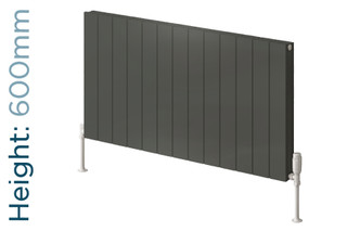 Reina Casina Aluminium Designer Anthracite Single Horizontal Radiator H600mm X W470mm
