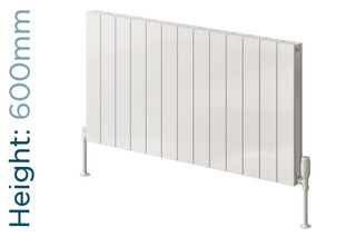 Reina Casina Aluminium Designer White Single Horizontal Radiator H600mm X W470mm