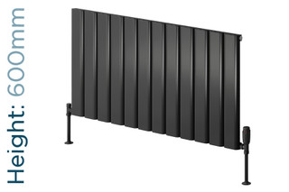 Reina Vicari Aluminium Designer Anthracite Single Horizontal Radiator H600mm X W400mm