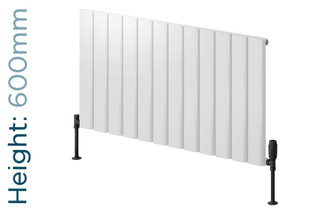 Reina Vicari Aluminium Designer White Single Horizontal Radiator H600mm X W400mm