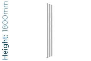 Reina Vicari Aluminium Designer White Single Vertical Radiator H1800mm X W300mm