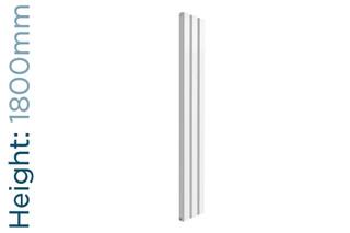 Reina Vicari Aluminium Designer White Double Vertical Radiator H1800mm X W300mm