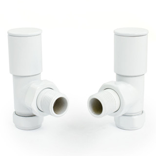 M-MAN-006-AG-W - 006 Modern Manual Angled White Radiator Valves