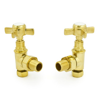 T-MAN-064-AG-UB - 064 Traditional Manual Angled Unlacquered Brass Radiator Valves