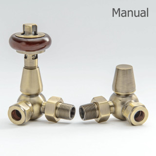 T-MAN-022-CR-AB - 022 Traditional Manual Corner Antique Brass Radiator Valves